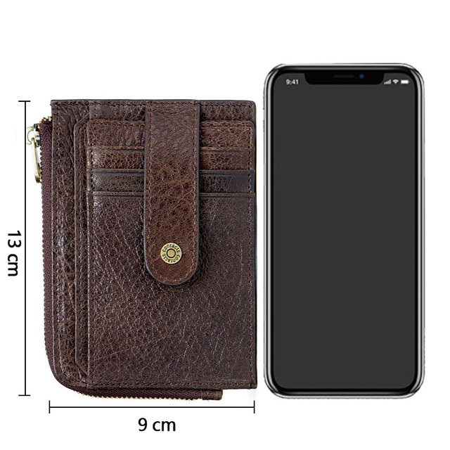CONTACT'S genuine leather credit card holder Rfid vintage male coin pocket purse mini wallet porte carte business card holders 4
