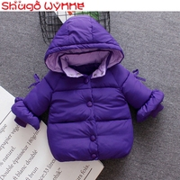 Winter Infant Girls Puff Sleeve Cotton Down Hooded Thick Warm Snow Wear Outerwear Baby Coat Princess Kids Parkas casaco