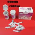 100pcs blood glucose test strips with 100pcs blood collecting needles for blood glucose meter