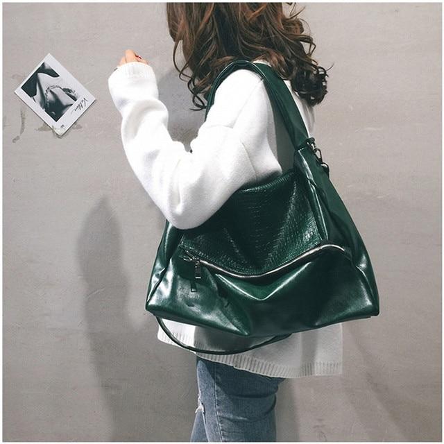 NEW Black Big Bag Para As Mulheres Homens Unisex verde Cadeia Couro Macio Hobo Bolsa Grande Capacidade Bolsa Ocasional de Um Ombro saco