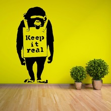 Bansky Monkey Wall Stickers Vinyl Art Mural Keep It Real Quote Decals Removable Style Home Decoration AY671