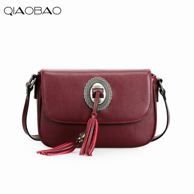 ФОТО QIAOBAO Hot Tassel Women Genuine Leather Handbags Cross Body Shoulder Bags Fashion Messenger Bag Women Handbag Bolsas Femininas