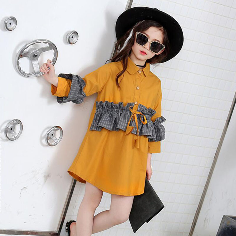 Elegant baby girls princess dress korean Casual shirts autumn patchwork long sleeve Kid Girls dress Clothes fall spring kids QY 2015 new spring autumn korea style girls cute leather lace patchwork princess long sleeve dresses baby boutique dress