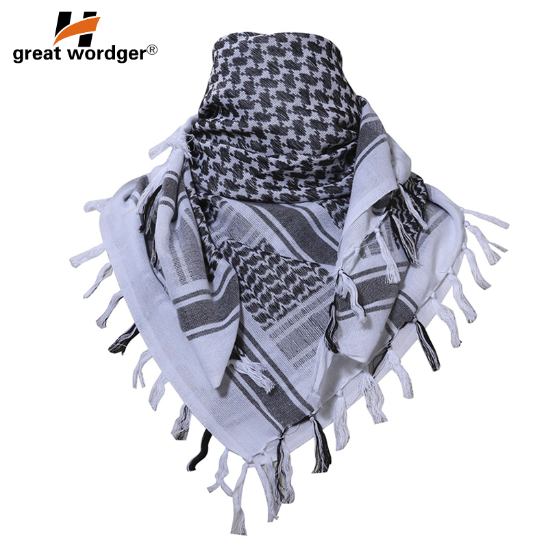 Image 3 - 100% Cotton Tactical Desert Arabic Scarf Men Arab Military Keffiyeh Scarf Thick Muslim Hijab Windproof Hunting Hiking Head Scarf-in Scarves from Sports & Entertainment