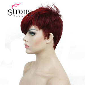 Image 4 - StrongBeauty Short Side Bang Red Asymetrical Straight  Wig Full Synthetic Wigs COLOUR CHOICES