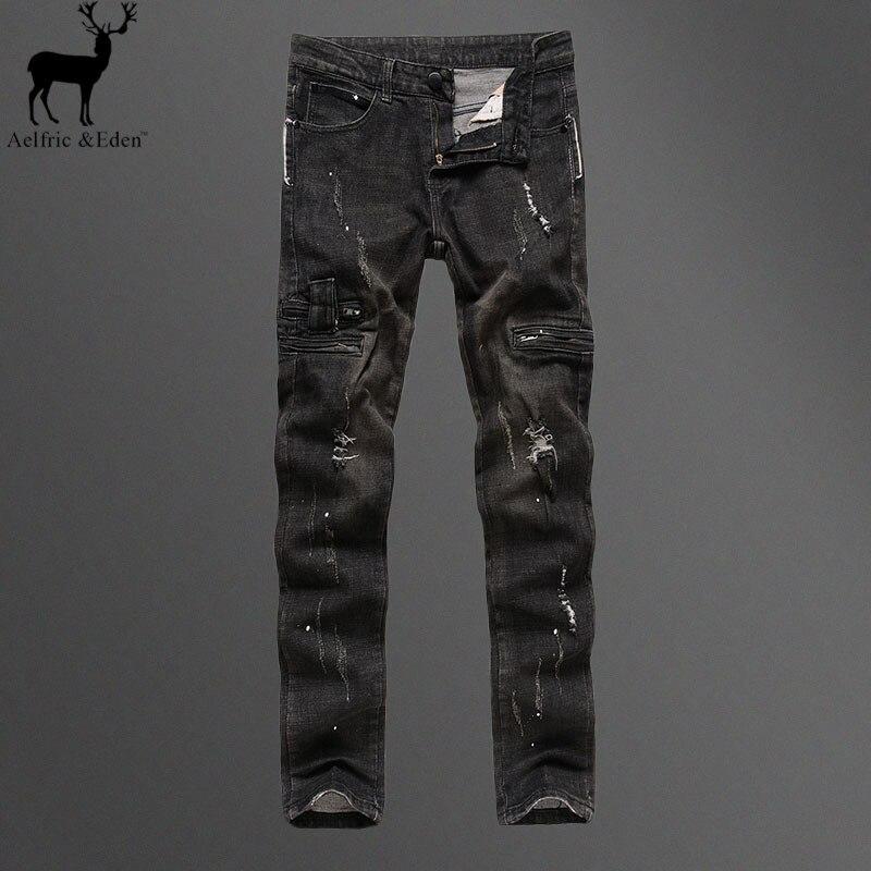 ФОТО Aelfric Eden Streetwear Burst Section Men's Punk Rock Pure Black Frazzle Jeans Elastic Straight Trousers Male Locomotive Jeans
