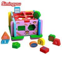 Simingyou Learning Education Digital Geometry 10 Hole Intelligence Box Shape Pairing Wooden Puzzle B40 24 Drop