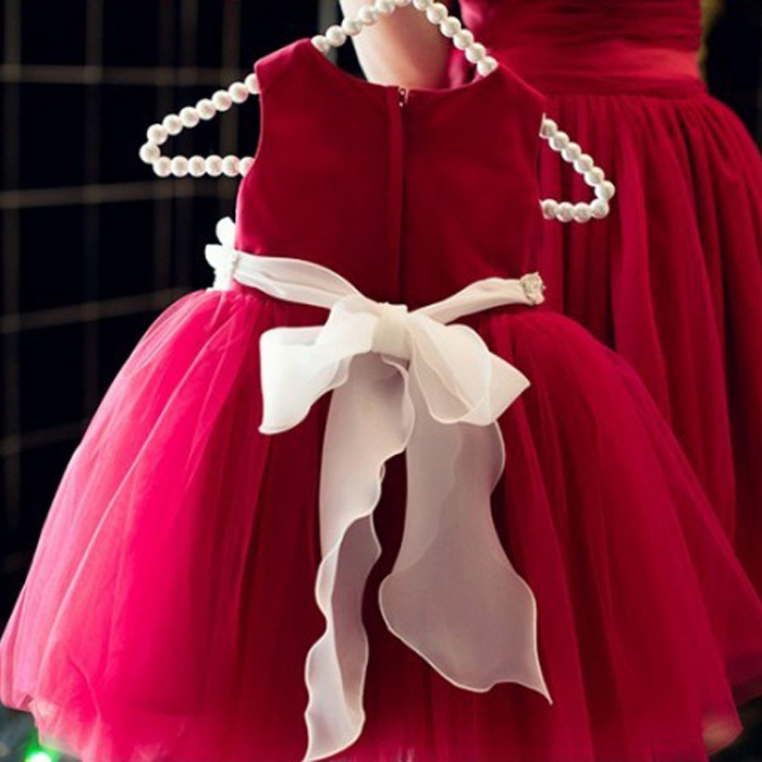 Girls Elegant Princess Dress Kids Summer Party Dress Beading Belt Wedding Dress