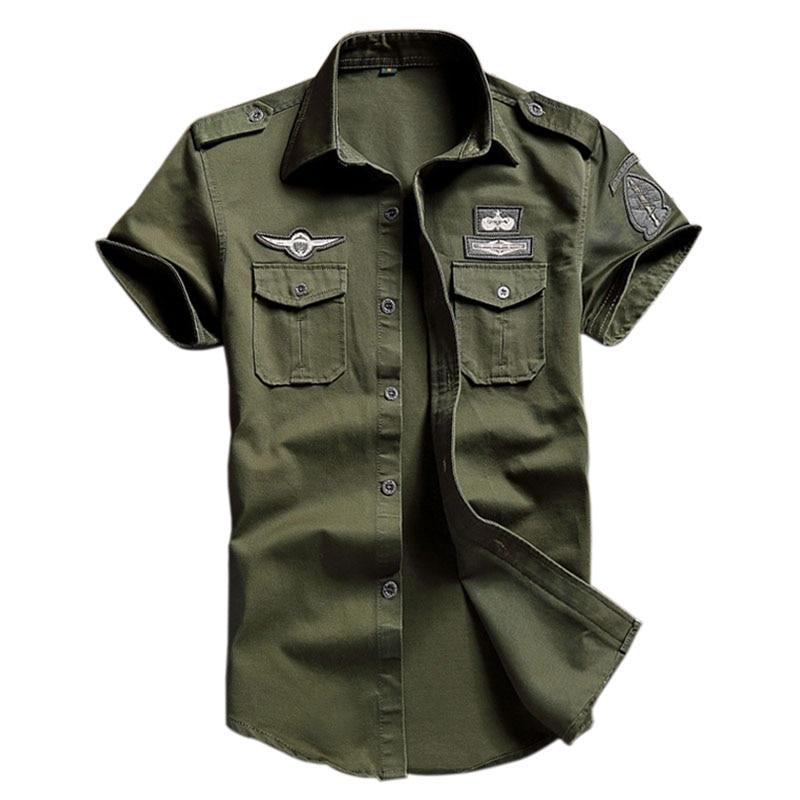 Mens Military Short Sleeve Casual Cotton Shirt Work Cargo Shirt Shirt Tops