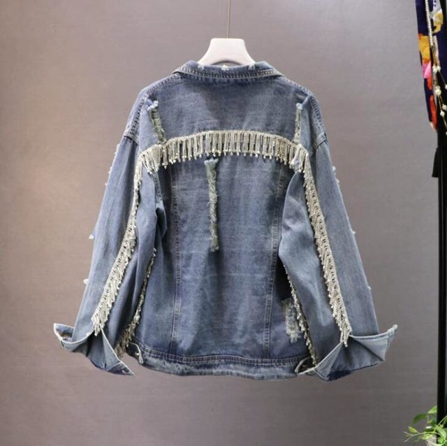 Heavy Tassel Metal Rhinestones Worn Holes Cowboy Coat for Women Long Sleeve Gloria Jeans Jacket Coats Street Wear Denim Jacket
