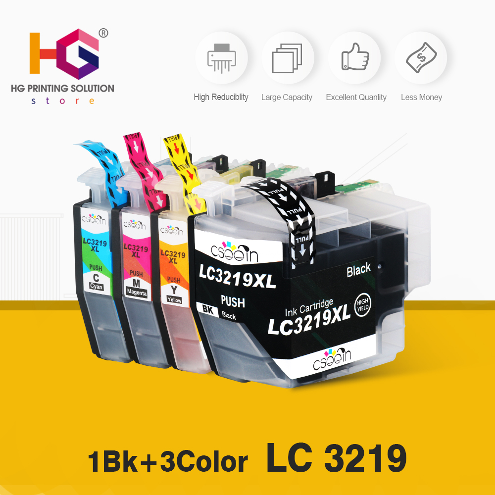 4pcs LC3219 LC3219XL Full Ink Cartridge For Brother MFC-J5330DW J5335DW J5730DW J5930DW J6530DW J6935DW Printer lc3217