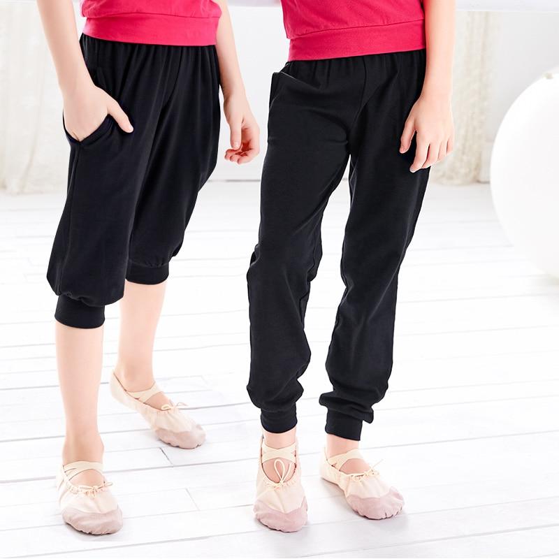Show details for Hot Sale Girls Kid Mid Waist Ballet Dance Pants Cotton Black Children Hiphop Gymnastic Pants Casual Capri Trousers