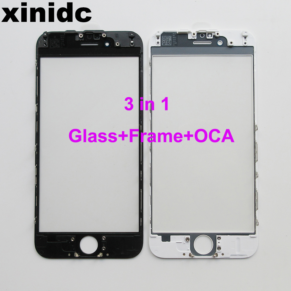 Xinidc Outer Glass with Bezel with OCA Frame For iPhone 6S Front Glass+frame +OCA lcd repair part Free DHL/EMS image