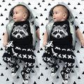 Девушка Новорожденный Мальчик Fox Футболки Брюки Леггинсы 2 шт. Наряды Set Одежда 0-24 М 2016 Горячий Продавать