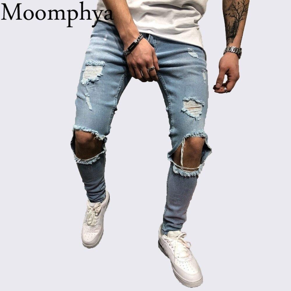 Moomphya Distressed ripped holes skinny   jeans   men Streetwear hip hop men   jeans   Slim biker   jeans   hombre
