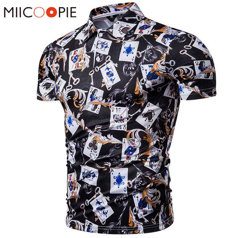 Summer Mens   Polo   Shirt Brands Causal Playing Card Printed Stand Collar   Polo   Shirt Male Funny Short Sleeve Slim Fit   Polo   Homme