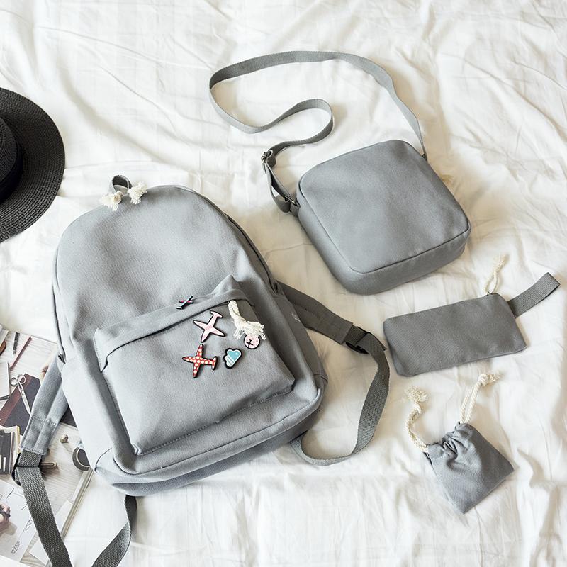 Menghuo 5 Pcsset Women Backpacks Cute Plane Badge School Bags For Teenage Girls Simple Canvas Backpacks Ladies Shoulder Bags (18)