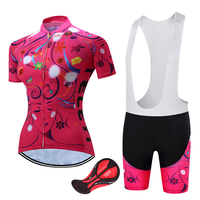 2018 Women Breathable Red Bicycle Clothes Summer Short Sleeve Cycling Bike Clothing Ropa Ciclismo For Female Cycling Jersey Set