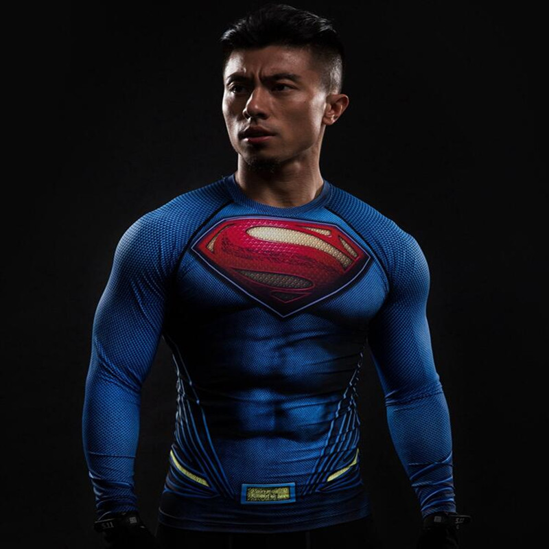 Kompression Shirt Batman VS Superman 3D Bedruckte T-shirts Männer Langärmeliges Cosplay Kostüm Fit Bekleidung Fitness Tops Männlich