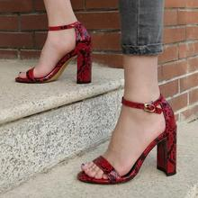 New Arrivals Red Snake Print Leather Womens Square Heel Sandals Ankle Strap Cut-out Gladiator Women Summer Shoes
