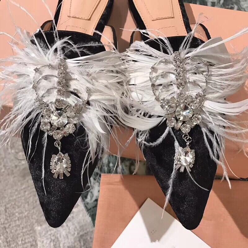 Hanbaidi Mewah Berlian Imitasi Wanita Sandal Mode Beludru Bulu Kaki - Sepatu Wanita - Foto 5