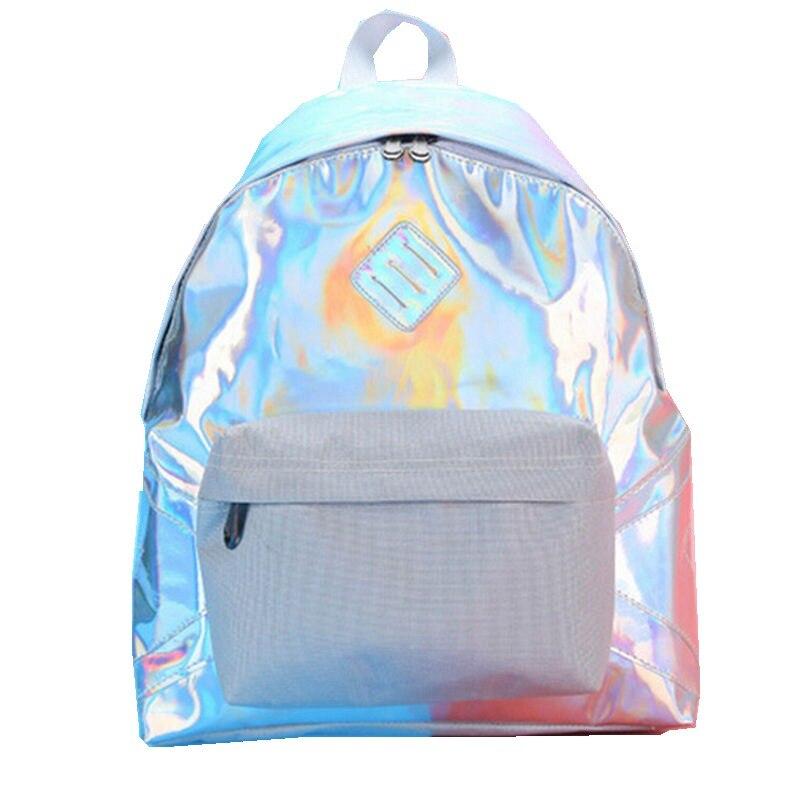 2017 New Fashion Silver Holographic Laser with Canvas Backpack Women Bagpak Mochila Kawaii Rucksacks for Girls Travel Backpacks