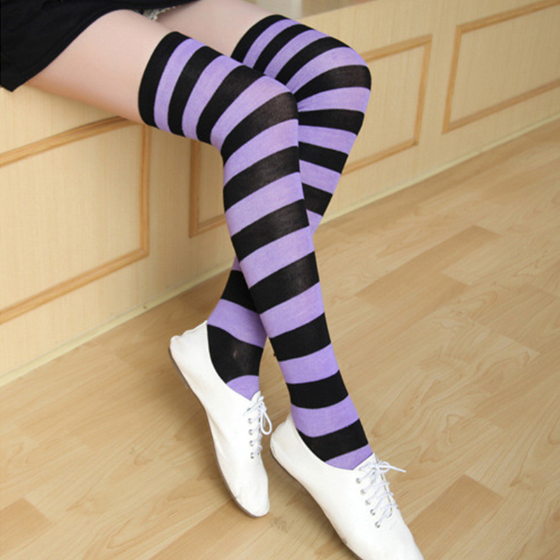 2018 Fashion Women Sexy Thigh High Over The Knee Socks Striped Long Stockings Long Cotton Warm Over Knee Sockings High Quality