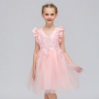 Menor floral moda Encaje princesa borla vestido de fiesta Appliques lindo estilo occidental niños flor Niñas vestido l570