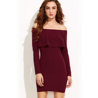 Sexy Women S European Party Style Solid Color Shein Strapless Tight Collar Long Sleeve Dress Vestidos