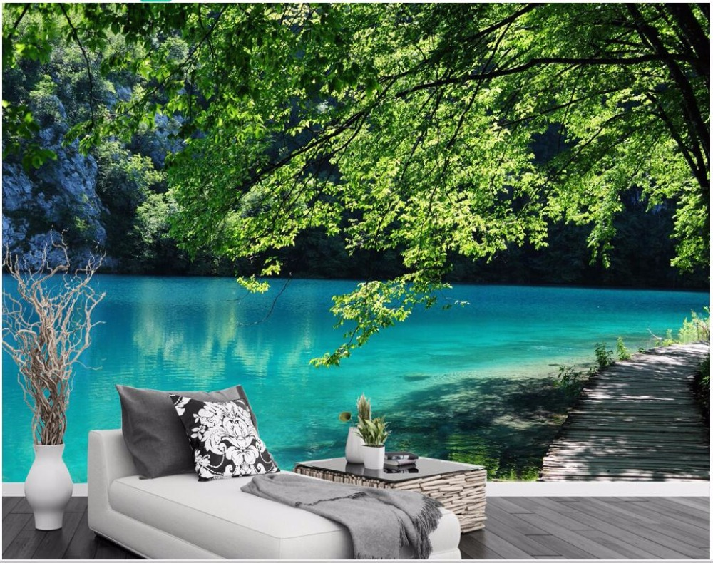 3d Wall Murals Wallpaper For Walls 3 D Photo Wallpaper Blue Lake Natural Scenery Tv Background Wall Home Decoration Living Room