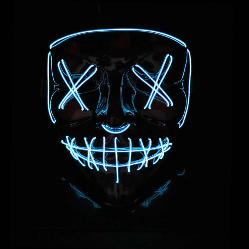 Маска на Хэллоуин, светодиодный светильник, Вечерние Маски, неоновая маска для косплея, тушь для ресниц, страшные маски, светящиеся в темноте, DC 3 V, драйвер батареи