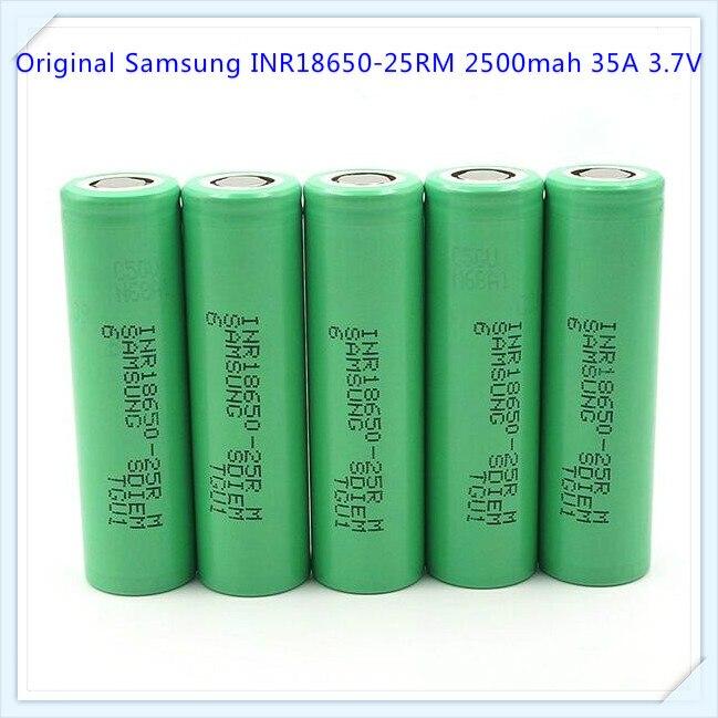 100% Original For Samsung INR18650-25RM 25RM 18650 2500mah 35A Li-ion Battery Hot Sale 25RM Battery For E Cig Vv Mode (1 Pc)
