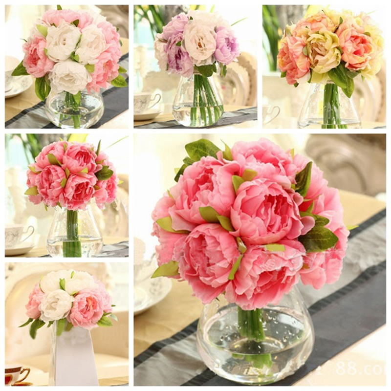 hot sale10 heads artificial silk flower peony flowers wedding bouquet bridal party decor high quality