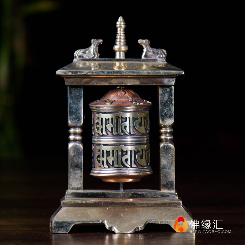 Exquisite Chinese Collectible Decorated Old Handwork Bronze Tibetan Lama Prayer Wheel Statue