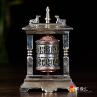 Exquisite Chinese Collectible Decorated Old Handwork Bronze Tibetan Lama Prayer Wheel Statue