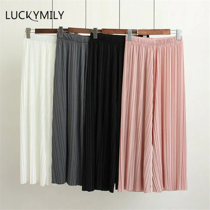 Luckymily 2018 New Spring and Autumn Solid Color Womens Pleated   Wide     Leg   Palazzo   Pants   with Elastic Band of 8 Color Casual   Pants