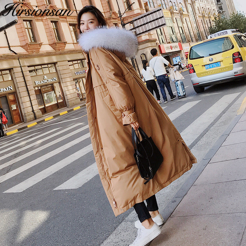 Hirsionsan Winter Coat Women 2019 Korean Loose Thick Warm Extra Long Winter Jacket Padded X-long Coats Female Oversized Parka