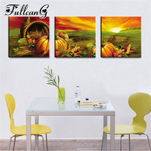 FULLCANG 3 piece diy diamond embroidery pumpkin fruit triptych painting full square/round drill 5d mosaic pattern art FC659