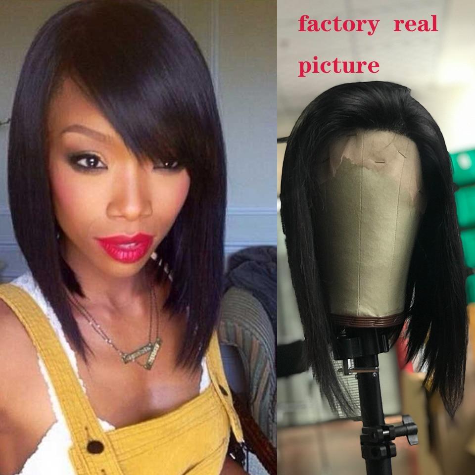 Vrvogue волос 13x4 синтетические волосы на кружеве человеческие волосы Искусственные парики предварительно сорвал для черный для женщин