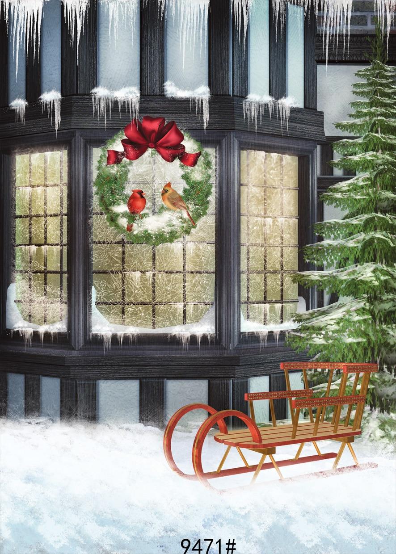 Christmas Sleigh background Photo backdrop Christmas  Vinyl backdrops for photographyPhotography-studio-backdrop 150x210cm sleigh car 10 x20 cp computer painted scenic photography background photo studio backdrop zjz 857
