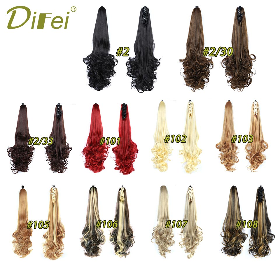 Long Wavy Synthetic Ponytails Hair Extensions Claw Ponytail 24 60cm 180g Black Red Blonde Piano Color Womens Hairpieces