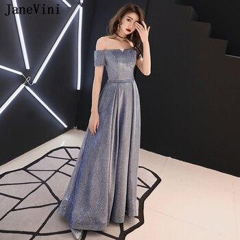 Vestidos De Noche Azules Elegantes De Satén Largo De Hombro