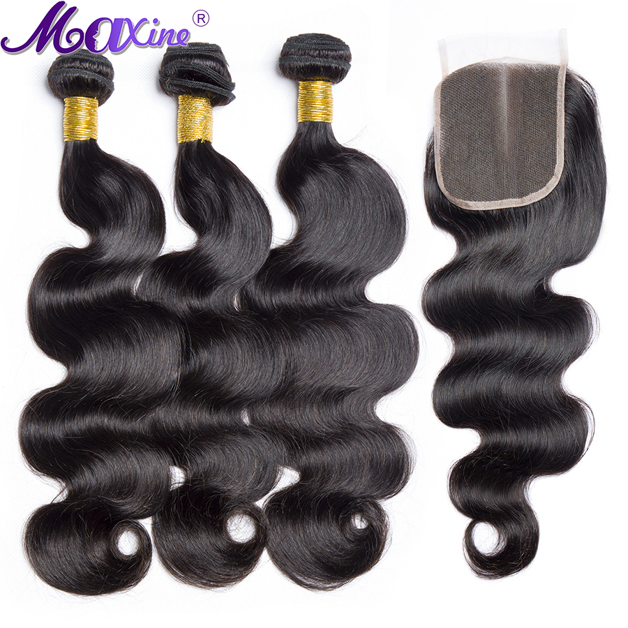 Maxine Hair Body Wave 3 Bundles With closure Brazilian 100 Human Hair Weave Bundles With 4