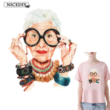 Fashion Grandma Vinyl Patch Deal With It Clothes Heat Transfer Printing T-shirt Women Iron On Patches For Clothing Girl Stickers