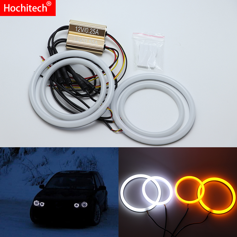 For Volkswagen Golf Mk4 1998 to 2004  White & Amber Dual color Cotton LED Angel eyes kit halo ring DRL Turn signal light