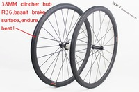 Superlight 25mm width U shape Straight pull 38mm clincher bicycle wheels with powerway R36 carbon hub 1432 spoke