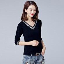 2017 Korean cotton female T-shirt bts white/black color v-neck bottom split tops women slim t shirt women