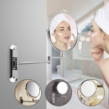 Hot Selling Practical Extensible 6 8inch 10x Magnification Modern Round Wall Mounted Double Side Makeup Mirror For Bathroom