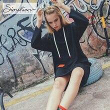 Simshion 2017 Для женщин Повседневное свободные Толстовки кофты Мода Печать Письма длинное пальто Вне носить черный, красный темно-один размер