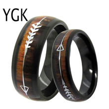 Men Ring Women Wedding Band Trendy Jewelry Mens Classic Engagement Tungsten Wood Silver Arrow Bohemian
